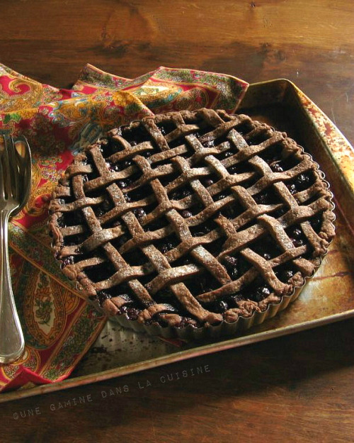 Blueberry Pie with Chocolate-Ginger Crust by Une Gamine dans la Cuisine