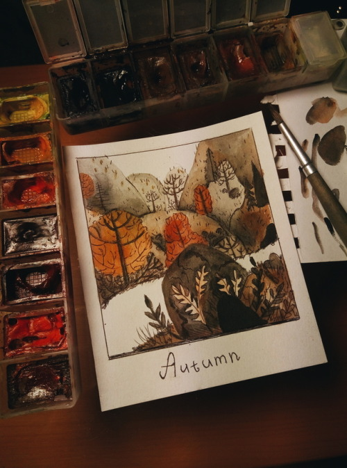 осень арт рисунок скетч sketch art drawing autumn watercolor watercolour art watercolour illustration