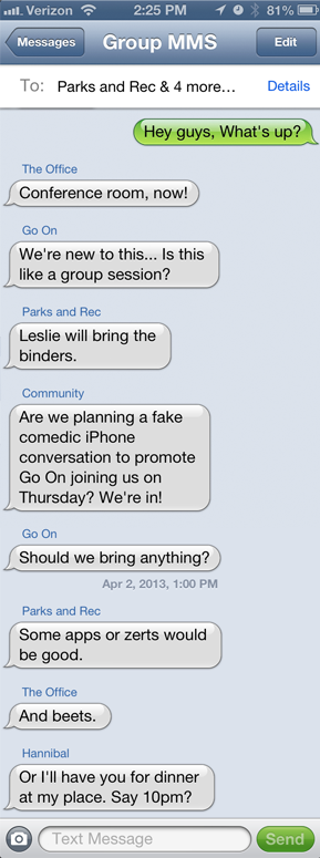 communitynbc:  nbcgo-on:  nbctv:  Just a typical Thursday group text. We'll see you tonight!