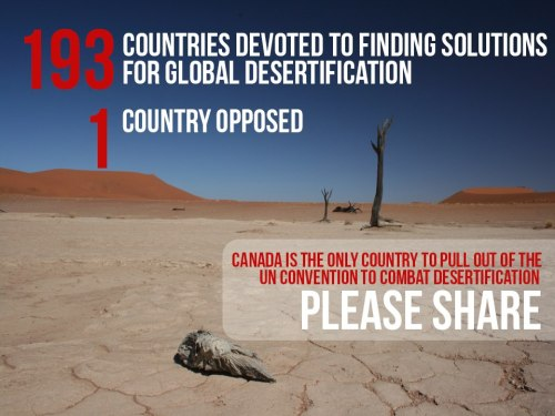 Canada pulls out of the UN Convention to Combat Desertification. Read more: http://ow.ly/jyJDw