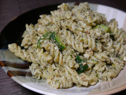 afickleheartandabitterness:  Rotini w Zucchini & Almonds  by smiteme on Flickr.