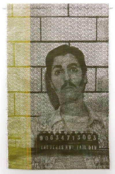 Artist Joanne Arnett's artwork reproduces mugshots in a uniquely meticulous way.  She painstakingly recreates these images as woven textiles.  Mixing thread a wire, the result is similar to a shimmering newspaper photograph.   (via Textile Mugshots By Joanne Arnett | Beautiful/Decay Artist & Design)