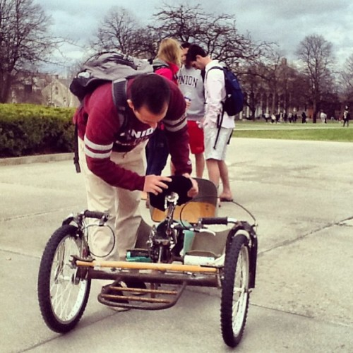 Eric Spector '13 checks out a hand cycle after a presentation by its inventor Mike Augspurger in Professor Fried's Social Entrepreneurism class. #springatu