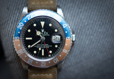 hodinkee:  1962 Rolex GMT-Master with gilt, underline dial and pointed crown guard case, on HODINKEE strap.