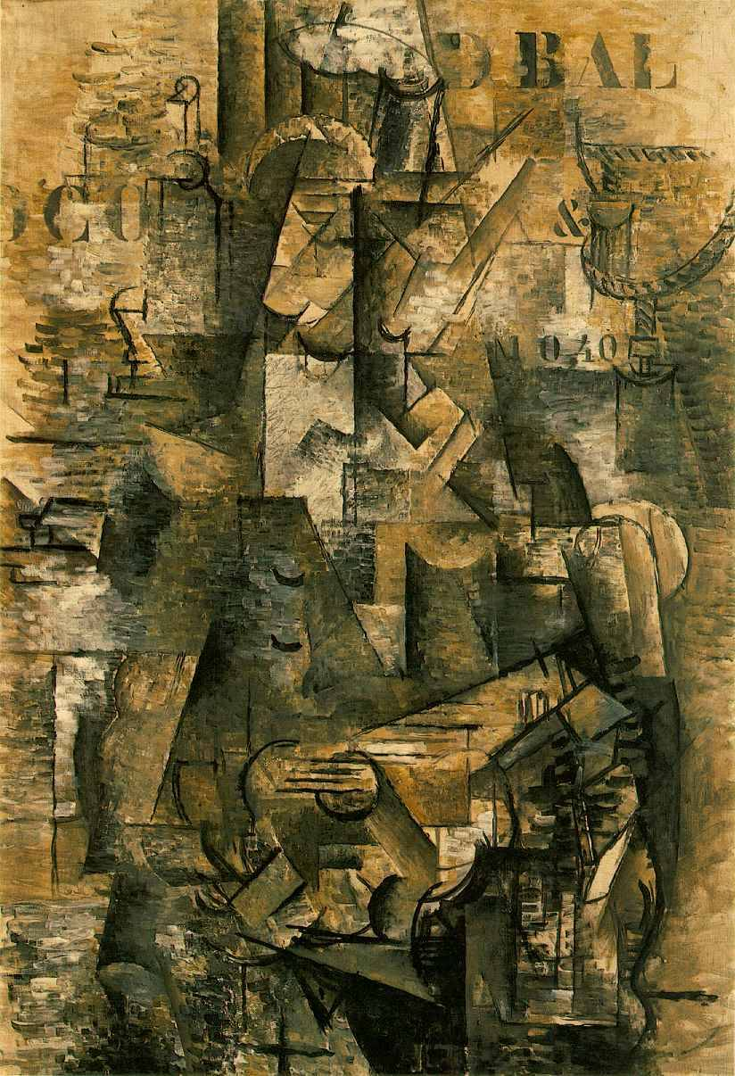 "ryandonato:  Georges Braque, The Portuguese, 1911. Oil on canvas, 3' 10 1/8"" x 2' 8"".   The Cubists rejected the pictorial illusionism that had dominated Western art for centuries. Here, Braque concentrated on dissecting form and placing it in dynamic interaction with space."