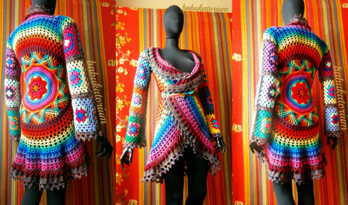 Crochet Coat - Aztec Sun Mandala And Granny Squares In Retro Rainbow Colors And Variegated Brown Edgings on Flickr.