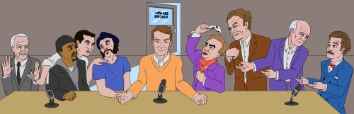 "Cool Comedy Bang! Bang! Fan art! A Last Supper, of sorts (l-r): ""Garry Marshall,"" ""Ice-T,"" ""Cake Boss,"" ""Mr. Brainwash,"" Scott Aukerman, ""Andrew Lloyd Webber,"" ""John C. Reilly,"" ""Werner Herzog,"" Paul F. Tompkins"
