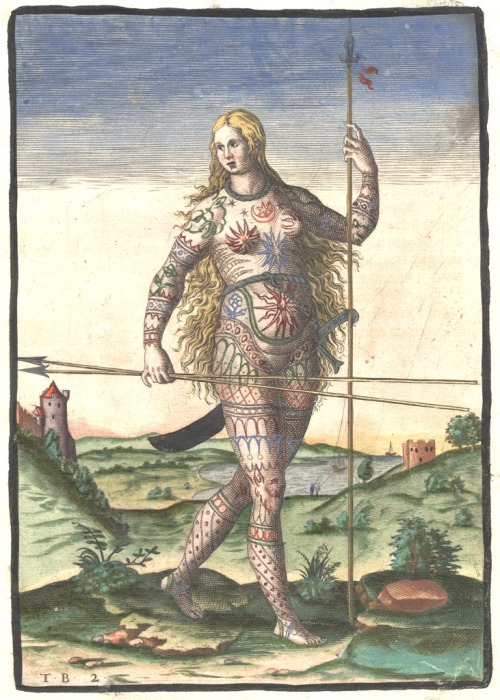 secretmuseum:   Hand-colored version of Theodor de Bry's engraving of a Pict woman (a member of an ancient Celtic people from Scotland)…The woman stands with a long spear held upright in her left hand, and two long spears held horizontally in her right hand. She wears only a large ring around her waist, from which a curved sword hangs behind her, and a smaller ring around her neck. Much of her body appears to be painted or tattooed.   A (rather fanciful) 16th century rendering of a tough, naked warrior woman of the ancient Picts, long hair flowing, spears at the ready.  Kick ass.