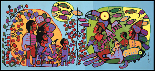 "Norval Morrisseau/Copper Thunderbird Observations of the Astral World, c. 1994 ~ From the National Gallery of Canada:  ""Evoking a relationship between Anishnaabe cosmology, shamanistic symbolism, and teachings from Eckankar, the religion Morrisseau joined in the mid-seventies that combines Eastern and Christian spirituality, Anishnaabe cultural manifestations in this work may be seen in relation to some of the ideas given expression in Eckankar, most notably the concept of Eck current, that is believed to connect all living things. The basic symmetry of the composition is enriched through the subtle alteration of colour and division of space. A shaman, in the process of transforming into a thunderbird, is the principal figure on the right side of the picture. Traversing the various zones, or realms, we see a school of fish, who act as symbols for the underworld spirits, there to provide balance to the spiritual realm inhabited by the shaman. The group of human beings represent human interrelationships, but they can also be understood as symbols of the interaction possible with the spirit world."""