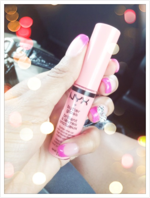 "Absolutely obsessed with the new NYX butter glosses! Here is one of my favorites ""apple strudel"""