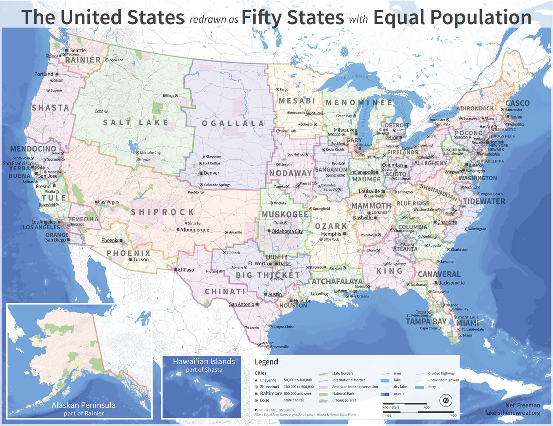 The United States redrawn as fifty states with equal population via Caitlin