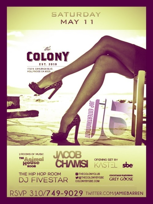 Jacob Chamsi at Colony Hollywood SaturdaysJamie Barren Presents COLONY HOLLYWOOD SATURDAYS May 11th features Jacob Chamsi doing a headlining…View Post