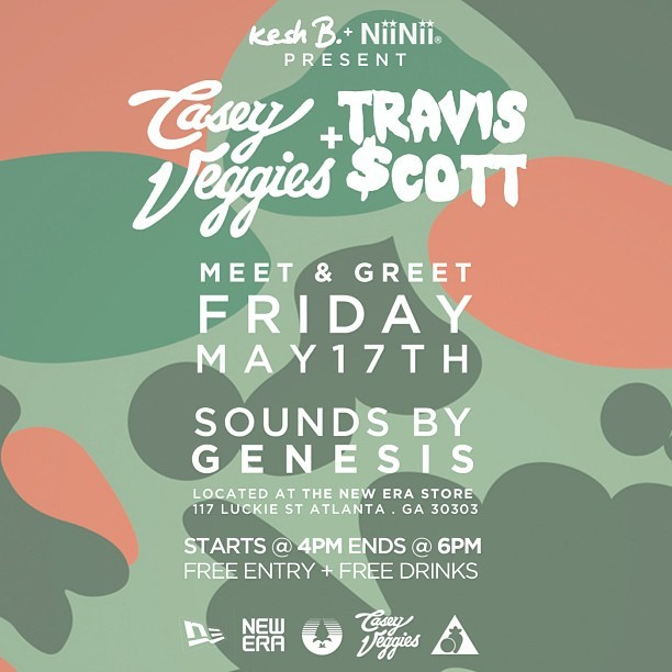venividivicikesh:  [Event] Casey Veggies x Travis Scott [ATLANTA] Meet & Greet. Friday May 17th 4pm-6pm @ The New Era Store. Free Drinks/Free Entry.