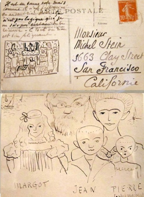 1bohemian:  Postcard from Henri Matisse to Michael Stein (Gertrude's Brother). From The Steins Collect at the MET.