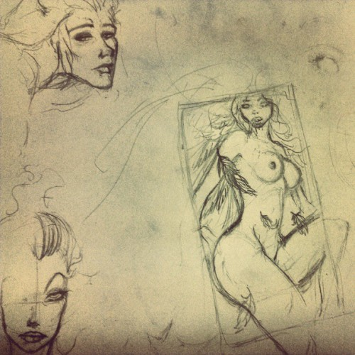 More sketches, the angel is a layout for a painting I'm planning ;) #artistsoninstagram #sketches #drawing #art #artwork #myartwork #angel #faces #nude #pencil #quick