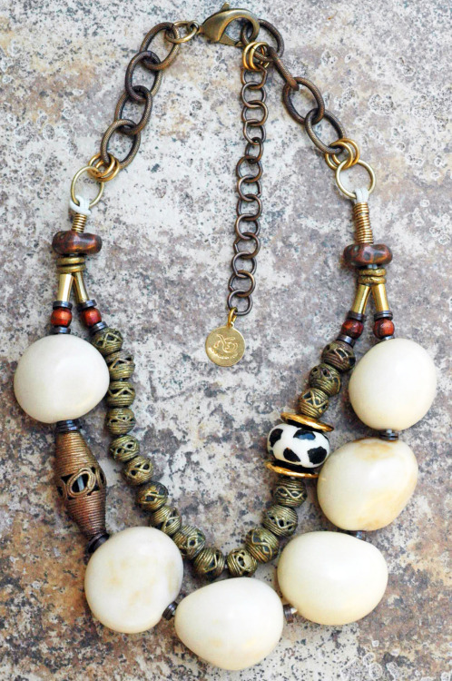 White Tagua: Bold and Organic White Tagua Nut and African Brass Statement Necklace $225 Click to Buy