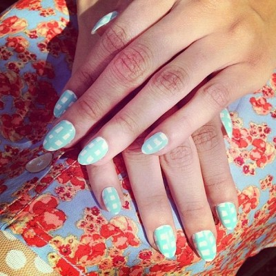 Baby blue #plaid #nails for #spring13 by @stephstonenails @nailinghwood