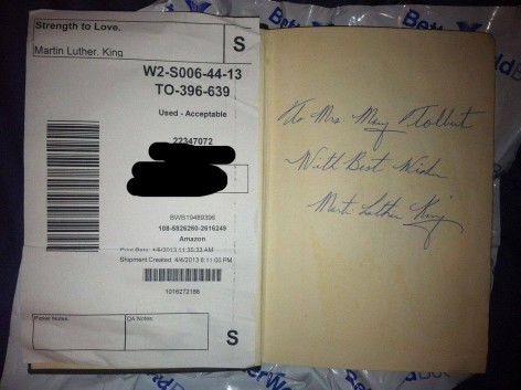 theparisreview:  When you buy a book for $3.50 and it's signed by Martin Luther King.  For more of this morning's roundup, click here.