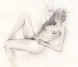 nude with flowers mask no.1 graphite sketch by Andrei Nicolescu Blog