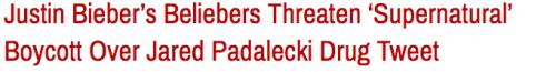 justin bieber supernatural sam winchester castiel Misha Collins spn Jared Padalecki beliebers Seth Rogen cas Zack Braff justin bieber arrest jared padalecki tweet