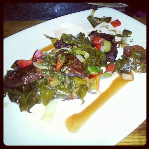 #Skirtsteak & #collard greens  (at Soco)