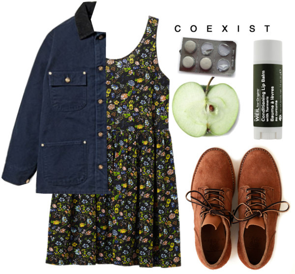 coexist by pawsitivity featuring a print dressMonki print dress, $32 / Carhartt  / Origins lip treatment, $21