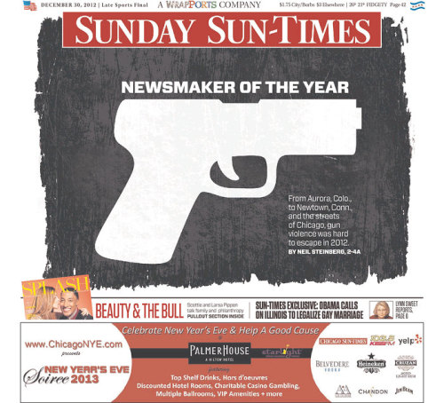 shortformblog:  The Chicago Sun-Times' newsmaker of the year is the gun. As we pointed out last week, the city hit 500 homicides this year, 87 percent of those committed with guns. (ht Newseum)  In a city where guns are banned… Leftist logic is so flawed, it's hilarious.  Maybe Chicago can super-duper-no-take-backs-ban guns now, maybe that will help.  Idiots.