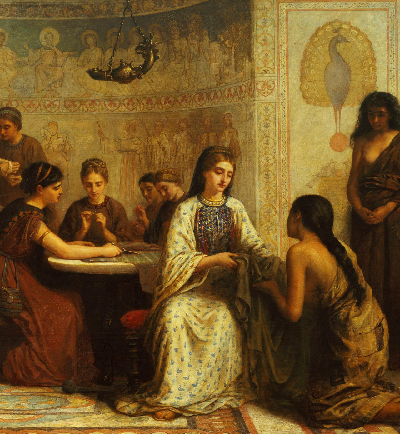 jaded-mandarin:  A Dorcas meeting in the 6th Century - Edwin Long. Detail.   Dorcas is a local group of people, usually based in a church, with a mission of providing clothing to the poor.