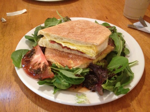 New York City: Italian Bacon and Provolone Breakfast Panini This sandwich was pretty dry and not very flavorful, and then the second half soaked up all the balsamic from the salad garnish and made it very mushy. http://www.crespellabk.com/