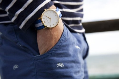 preppybynature:  Bicycles, breton and nato watch strap