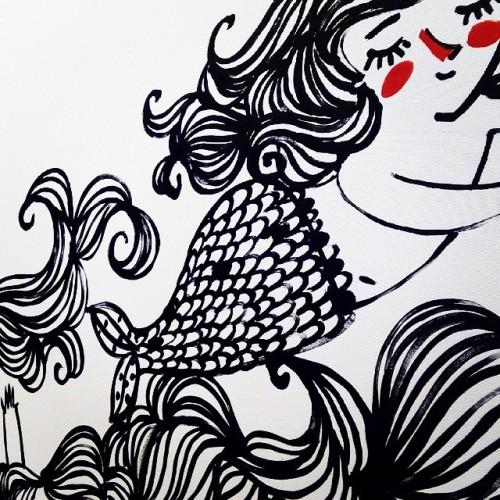 Una de las sirenitas del mural de @sara_fratini en el stand de Lumen en el Salon del Comic de Barcelona 😍 #art #comic #ilustracion #illustrator #illustration