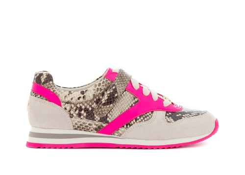 Michael Kors' neon pink and snakeskin-print sneakers. More styles (and a cute vid with model Karmen Pedaru) over on DestinationKors.com.