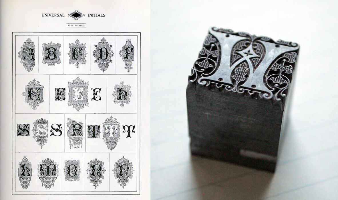 A font of Filigree initials - originally produced by MacKellar, Smiths, and Jordan - designed by Hermann Ilhenburg (who did lots of typefaces we like). It was released in 1878 and our set dates from not too long after that, judging by the foundry's pin marks.