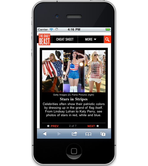 "newsbeastlabs:  Responsive Design - A Mobile Retrofit A few weeks ago we launched our new mobile optimized design of thedailybeast.com, and we couldn't be more excited! Go check it out if you haven't already (if you're not using a mobile device scroll to the bottom and click on ""Mobile Site"").  The challenge was to take our existing design and reorganize the content into a space less than 1/3 of the desktop size. In addition, we needed to account for a wide range of phone sizes, layouts (portrait/landscape) and resolutions (up to 300ppi). Based on the new design and requirements we decided to recreate all the markup and css for the entire site….10 weeks and 1,342 cups of coffee later we had ourselves a mobile site! Here are two features that we're most excited about: Responsive Design Ethan Marcotte, who coined the term ""Responsive Web Design"", describes 3 foundations as core to a responsive site: Flexible Grid Fluid Images Media Queries Instead of creating multiple versions of the site to fit multiple device sizes and resolutions we decided to use a responsive design approach by implementing a flexible grid system. This way our site will expand and contract to fit any width browser. For example, when your phone is turned from portrait to landscape, the site will respond by expanding to fit the screen. To produce this, we are using a 12-column flexible grid designed by Stephen Bau that is based on the great work by 960 Grid System (we love grids!). All columns widths are set as a percentage of the page rather than a fixed pixel width which allows the site to expand or contract to any size. The easiest part of the design was making all the images ""fluid"" by setting their width to 100%. Now images will expand/contract to fill the size of their parent element. As for media queries, new in css3, we are currently modifying the navigation so that each element is spaced properly based on site width. In the future, we hope to implement tablet and desktop media queries for a seamless site experience across all devices. Icon Fonts With the new responsive site we decided to abandon the use of sprites and most icon images in our css and have opted for creating our own icon font instead. Now when you visit the mobile site, all the icons are actually a part of our custom font, not jpgs or pngs. The browser references all icon images from a small font file (~30kb). One of the benefits is that your browser will not be downloading lots of icon images, taking up device memory, bandwidth and adding to the time it takes each page to download. An additional benefit of using a font is also so that we don't have to recut new images if designs change and we need the image slightly bigger, smaller or a different color. Now we can change each instance of the icon with css adjusting it accordingly. Lastly, icon images will never look blurry since they are now vector data (like an .svg) instead of raster (.jpg). Here's an example of why icon fonts are awesome. You can make your own custom fonts over at icomoon.io or download the icomoon chrome extension and work on your fonts offline. Shout out to the entire development and design teams who created lots of really great features! — Lynn Maharas, Front End Developer  Go check out our mobile site!"