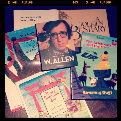 Today's bookstore haul! #woodyallen #tolkien #disney (at Recycle Bookstore)