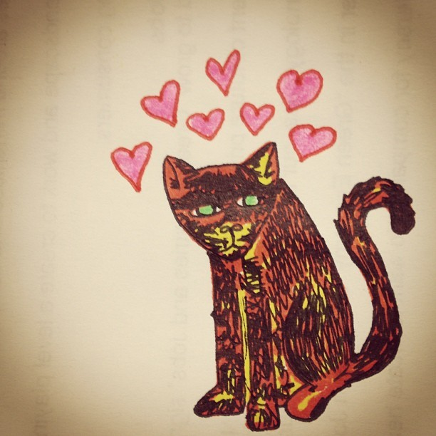 I drew a speckle kitten. She is in love and also grumpy.