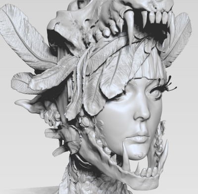 rosecole:  WIP for tonight. Mostly sculpted the feathers going up her neck more and got the eyelashes in (first time using fibers in zbrush and sort of teaching it to myself). Planning in fixing the feathers more tomorrow in class <: