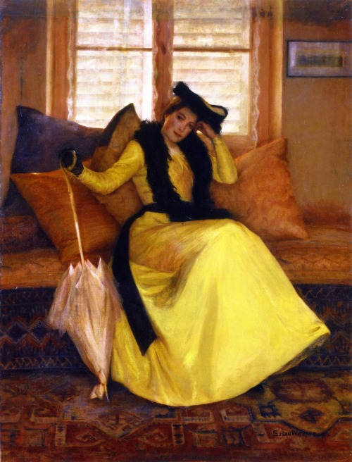 "the-garden-of-delights:  ""Lady In Yellow"" (1902) by Susan Watkins (1875-1913)."