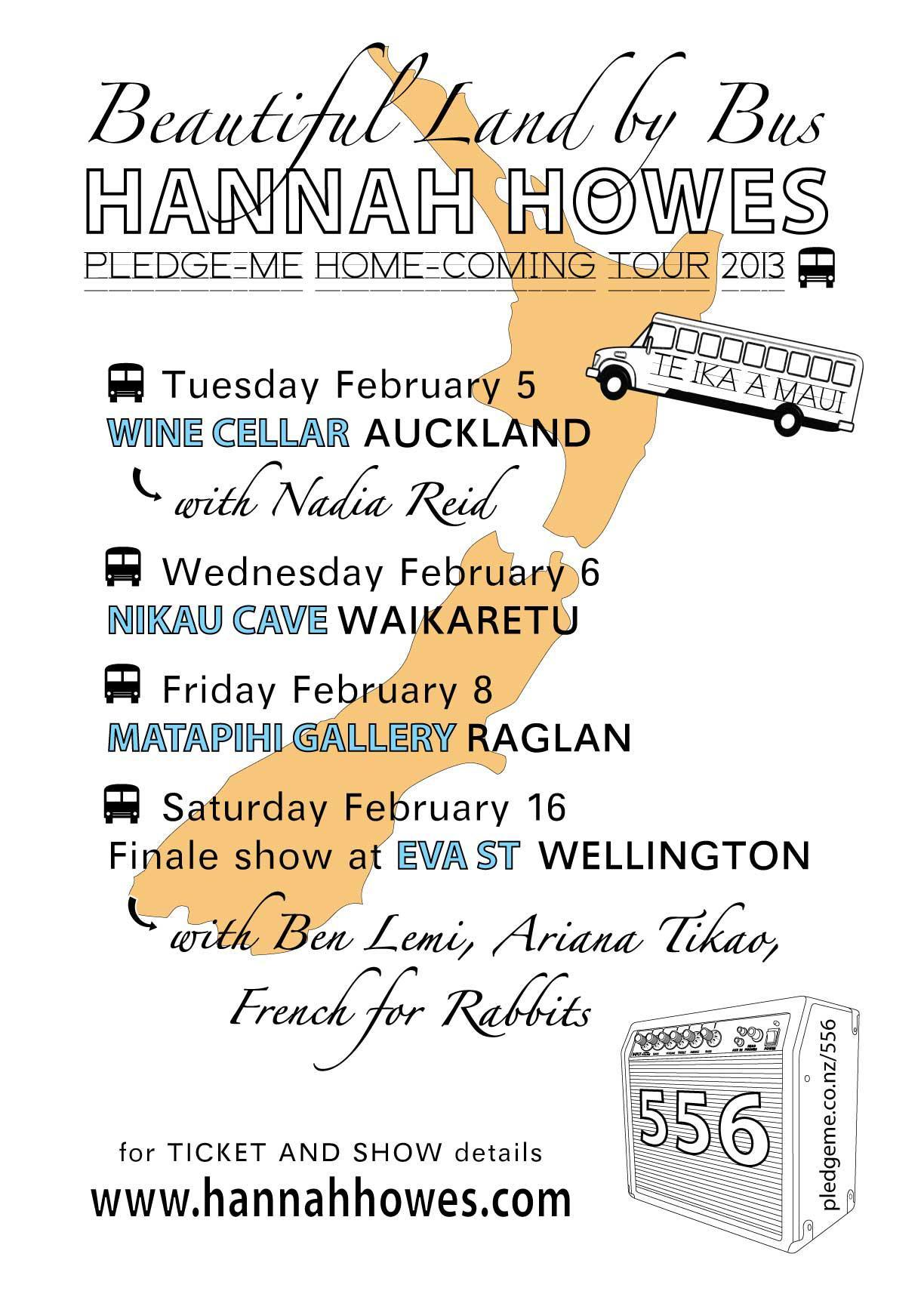 I am supporting Hannah Howes in Auckland City on Tuesday 5th January, Waitangi Day eve, so it ain't no school night. Miss Howes is fantastic. Her E.P Patchwork Quilt was a well-played record when I first started playing music. I'll have a new song of two… Doors 8pm, tenner on the door. X