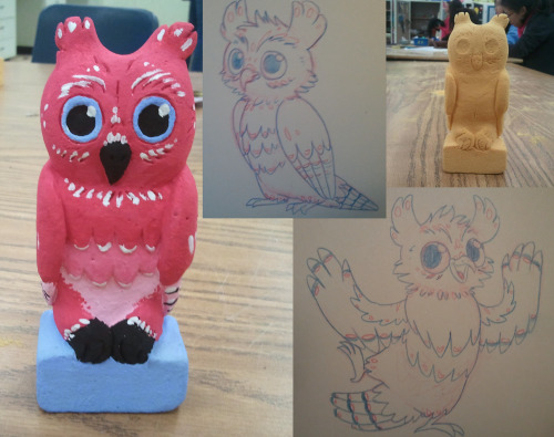 i made an owl in sculpture and then i drew pictures of it wowiE