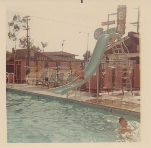 thepieshops:  In the Pool at the Waikiki Motel, 1967 - Anaheim, California