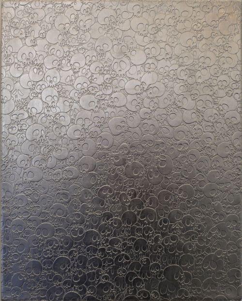 murakami skulls silver perotin gallery opening