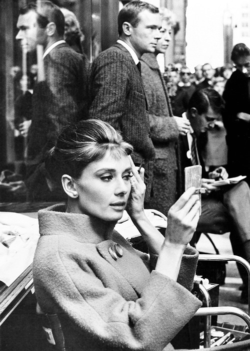 cinyma:    Audrey Hepburn on the set of Breakfast at Tiffany's, 1961.