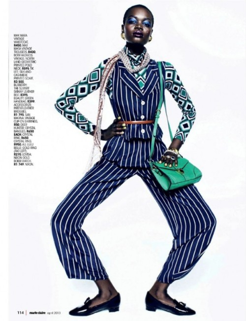 divalocity:  Strong Suit: Model Alaud Deng Anei for Marie Claire South Africa, April 2013. Photo: Kope|Figgins