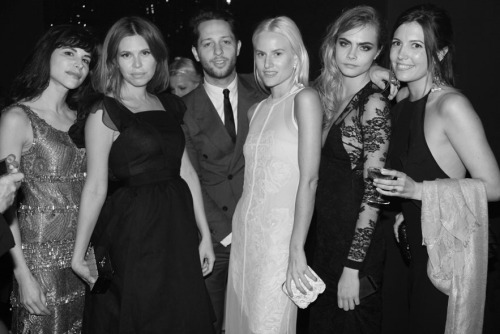Caroline Sieber, Dasha Zhukova, Derek Blasberg, Olympia Scarry, Cara Delevingne and Amanda Ferry at the after-party for The Great Gatsby premiere during the 66th Cannes Film Festival.
