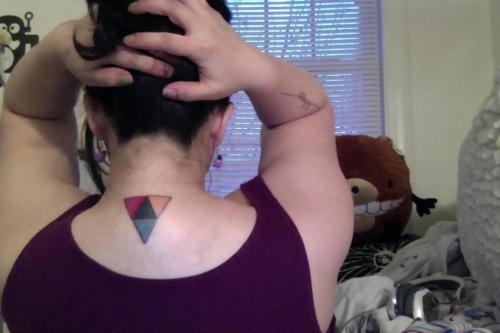 CMYK Triangle or ǝɔɹoɟıɹʇ?Just popped my tattoo cherry. Moving to Boulder, CO in less than a week, and I wanted to get my first tattoo before leaving Baltimore.