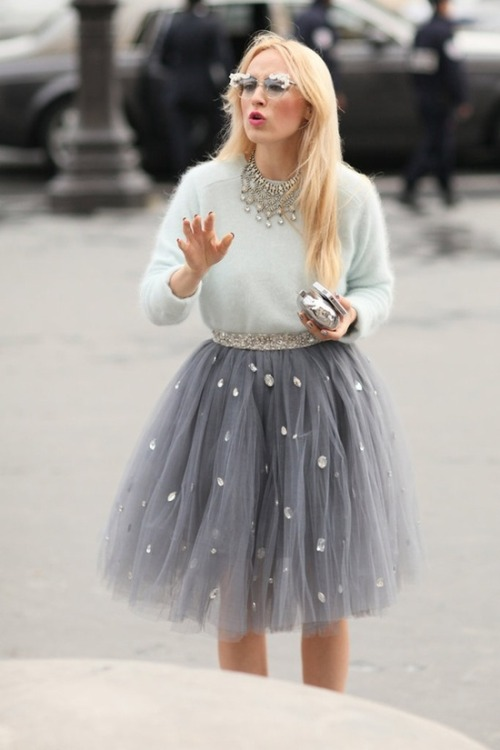 Rhinestones & Tulle! I absolutely love the skirt ♥