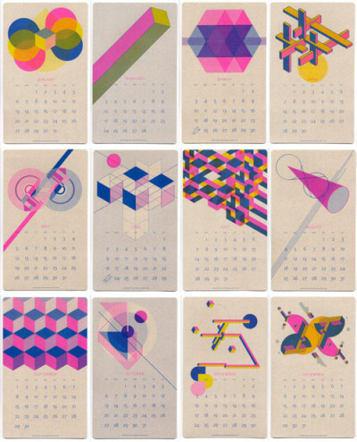 thisisanthology:  Isometric Risograph calendar (via 2013 Calendar - a set on Flickr)
