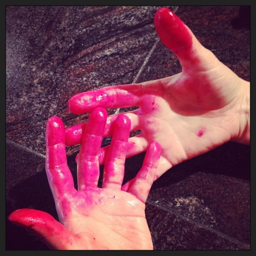 Manic Trout pink fingers from skinning roasted beets