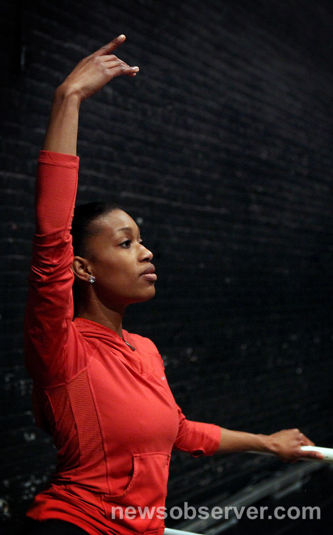 Carmen Felder, a Triangle native and member of the Carolina Ballet, prepares for her performance in the Nutcracker. Photo by Casey Toth